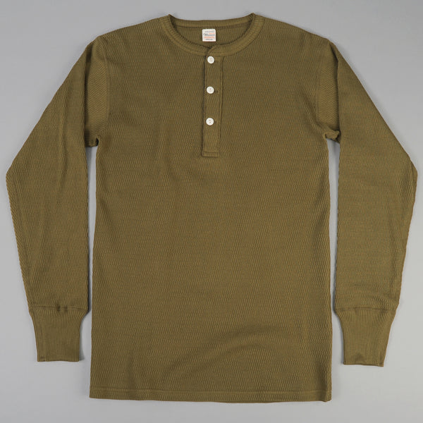 Warehouse - Henley Neck Waffle Thermal Shirt, Olive -
