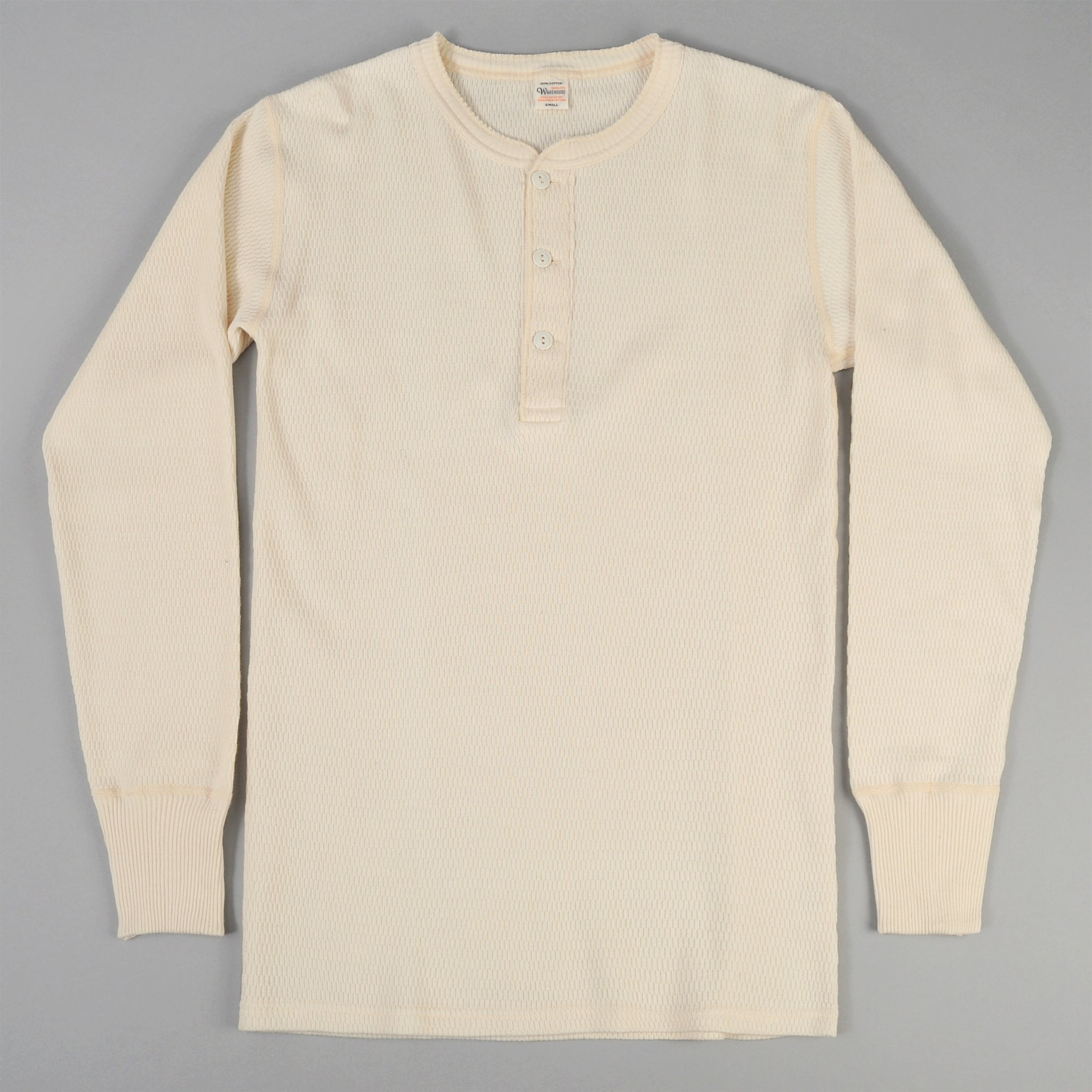 Henley Neck Waffle Thermal Shirt White Warehouse