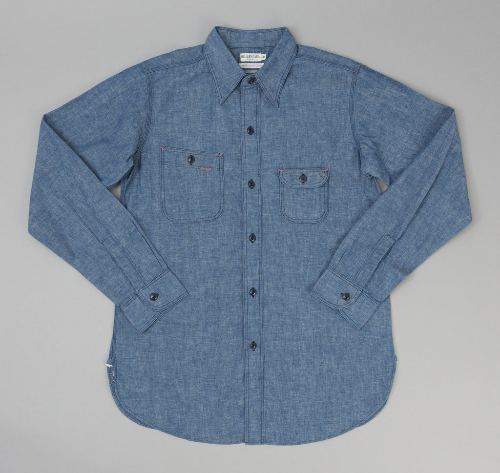 Warehouse Heller's Cafe Roomy Richard Chambray Shirt, Indigo