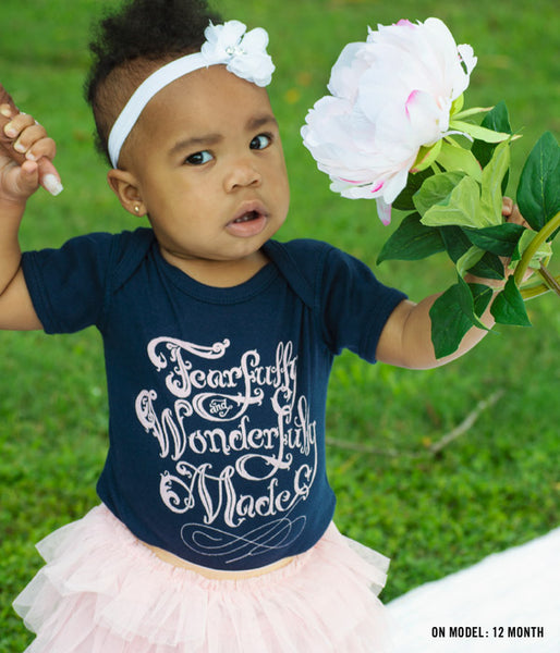 Fearfully Wonderfully Made Baby Bodysuit – Navy