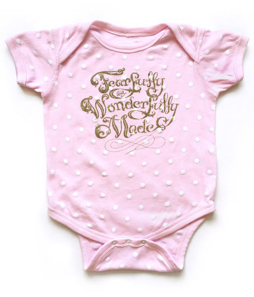 Fearfully Wonderfully Made Baby Onesie – Pink Polka