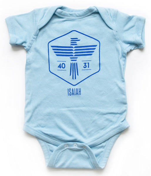 Isaiah Eagle Baby Bodysuit – Light Blue