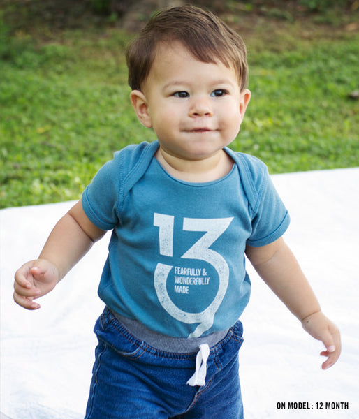 Psalm139 Logo Baby Bodysuit – Denim
