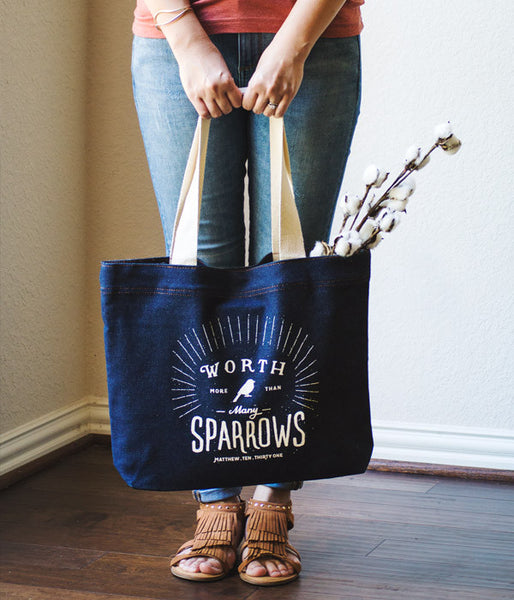 Sparrows – Denim Tote Bag