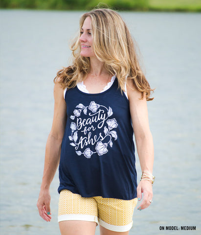 Beauty For Ashes Tank – Navy