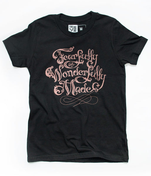 Fearfully Wonderfully Made Girl Tee – Black