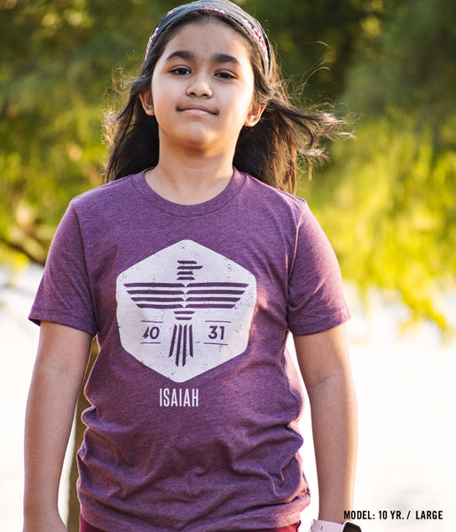 Isaiah Eagle – Heather Maroon Youth Tee