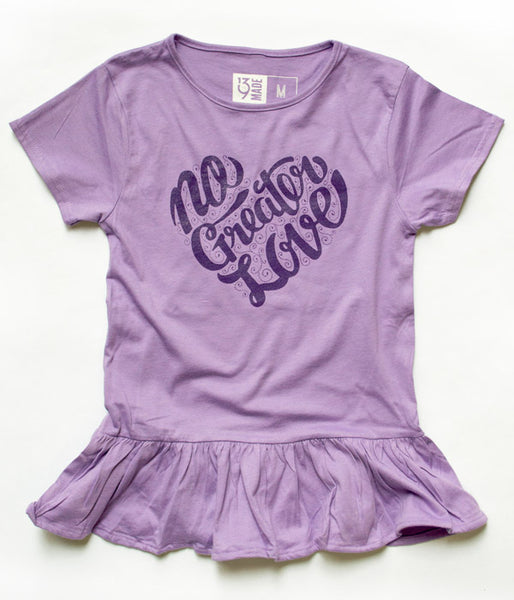 No Greater Love - Girls Ruffle Tee
