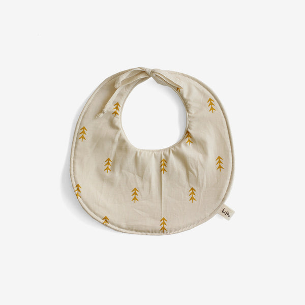 Organic Terry Baby Bib - Gold Trees