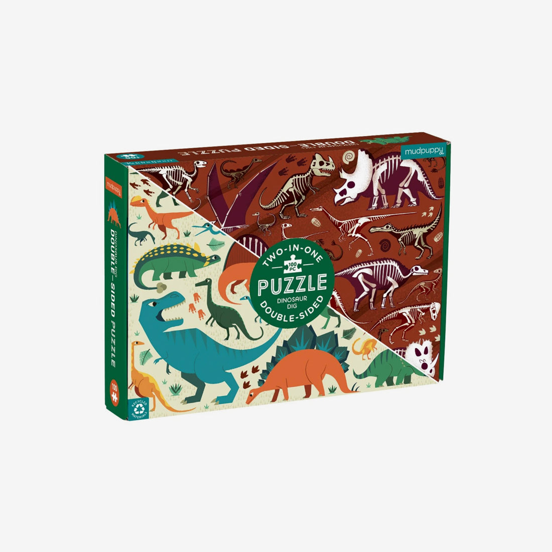 100-Piece Double-Sided Puzzle - Dinosaur Dig