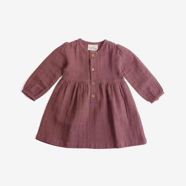 Button-front Harvest Dress - Mauve Double Gauze
