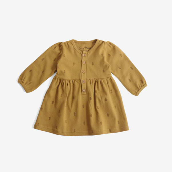 Button-front Harvest Dress - Mustard Jersey