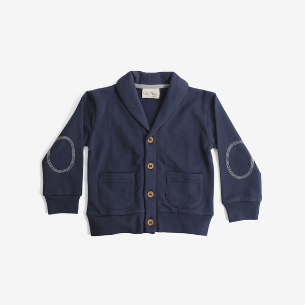 Elbow Patch Cardi in Organic Fleece