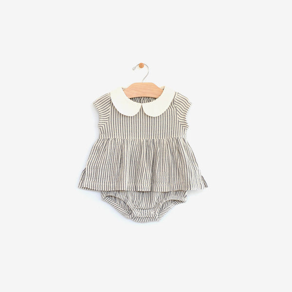 Organic Cotton Skirted Bodysuit Onesie - Stripe