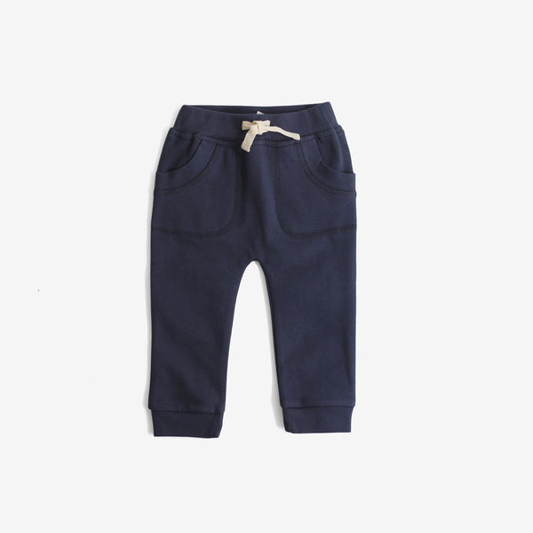 Organic Fleece Sweat Pants - Navy