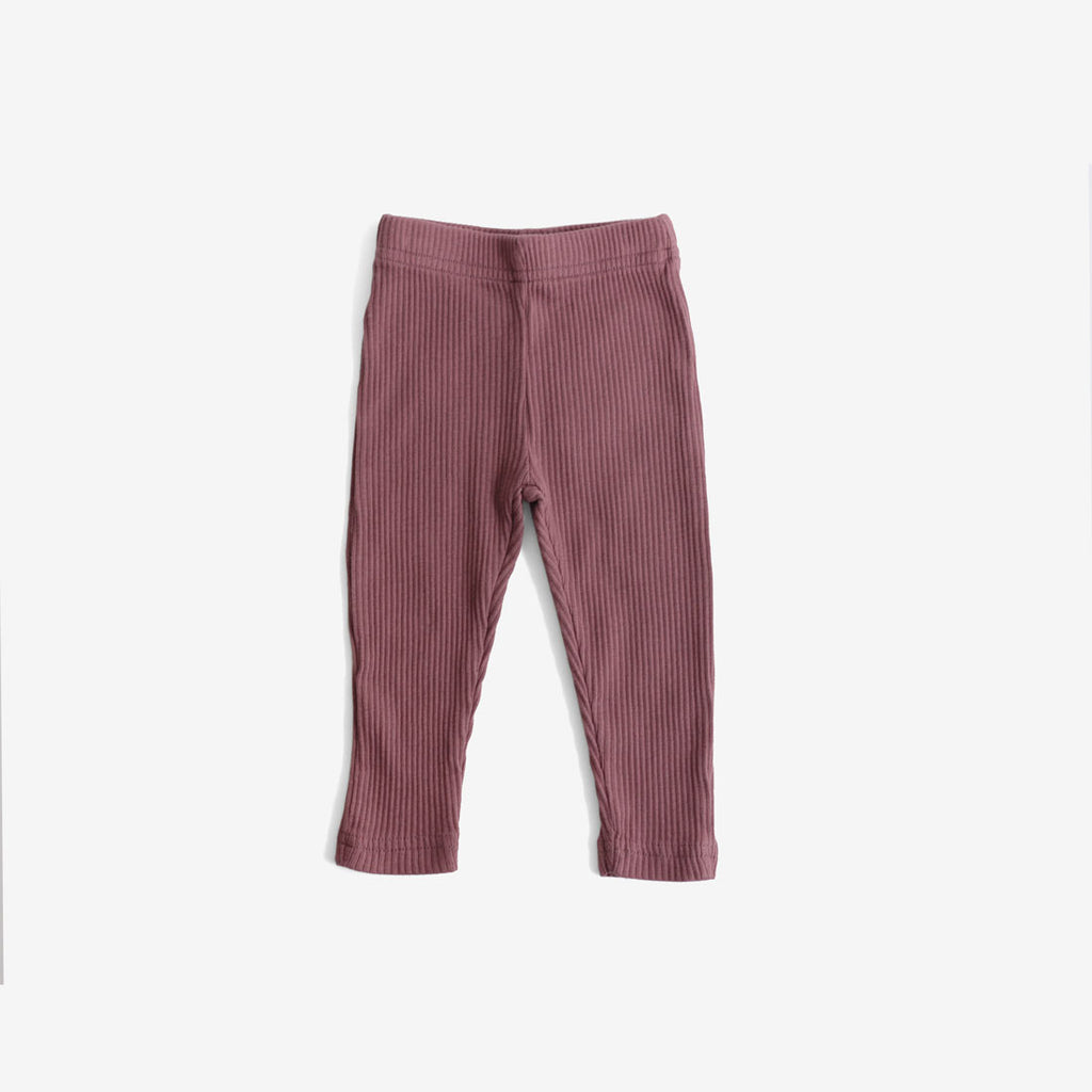 Ribbed Organic Cotton Leggings - Mauve