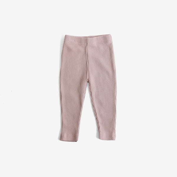 Ribbed Organic Cotton Leggings - Blush