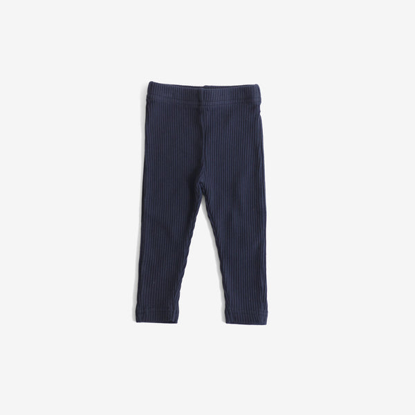 Ribbed Organic Cotton Leggings - Navy