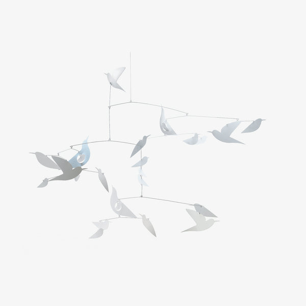 White Birds Paper Mobile