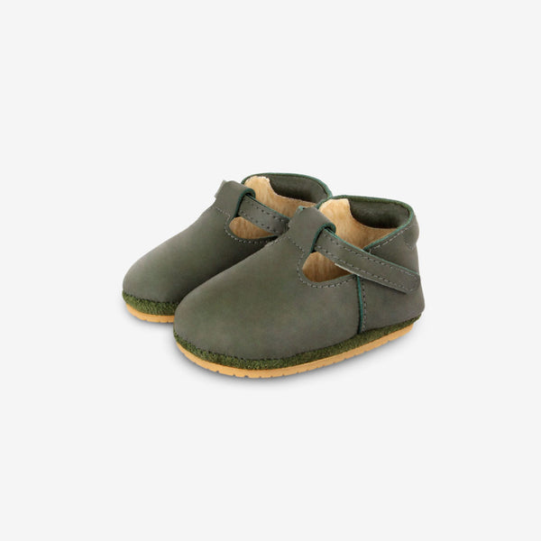 Elia Shearling Leather Shoes - Olive