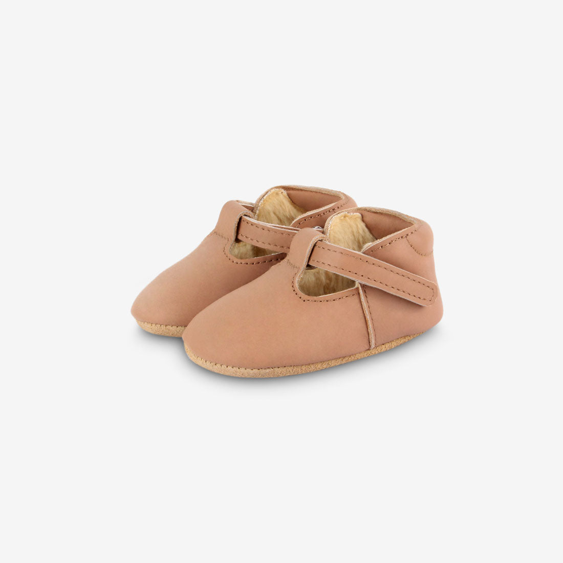 Elia Shearling Leather Shoes - Praline