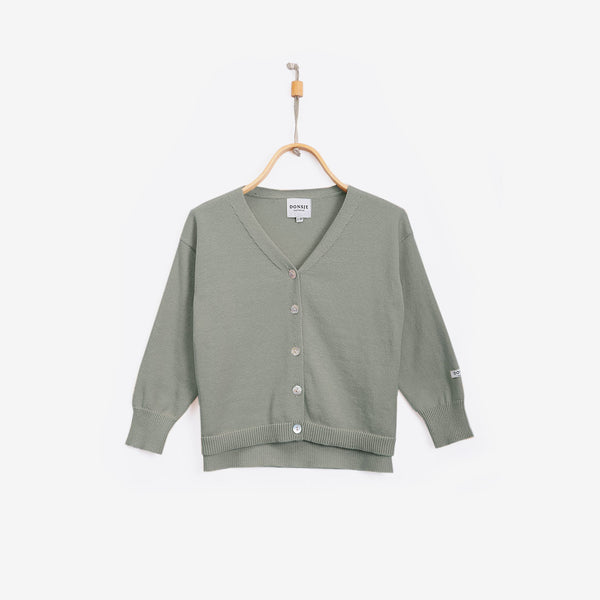 Finn Cotton Cardigan - Grey Green