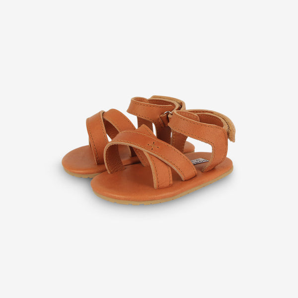 Giggles Leather Baby Sandals - Camel