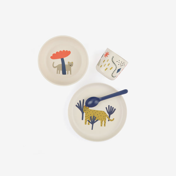 Ekobo Bamboo Kid's Dinner Set - Leopard