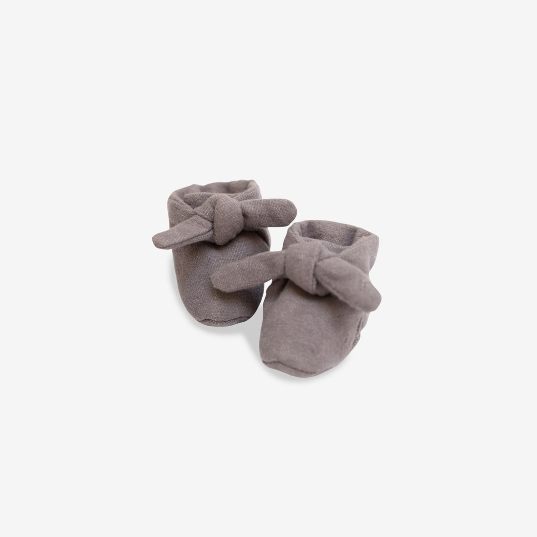 Organic Flannel Knotted Booties - Gray