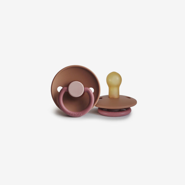 FRIGG Natural Rubber Pacifier - Colorblock Flamingo
