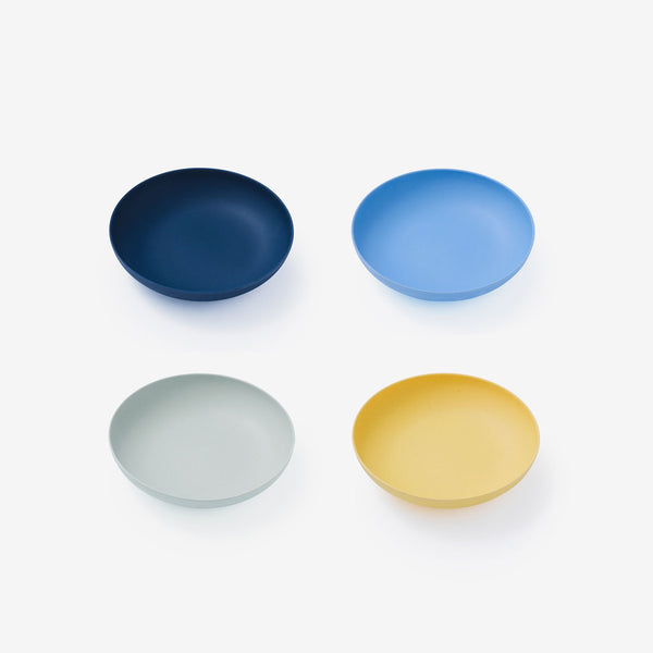 "Fable Bamboo 7"" Low Bowl 4Pack - Multi Blues"
