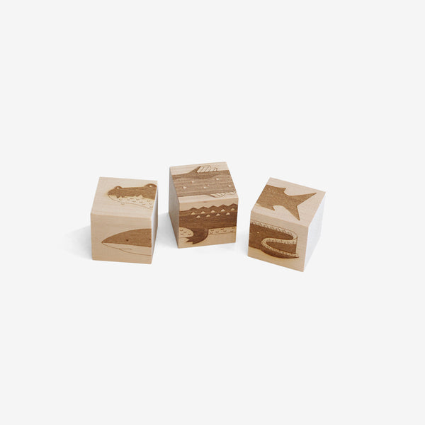 Wooden Shuffle Blocks - River Monsters