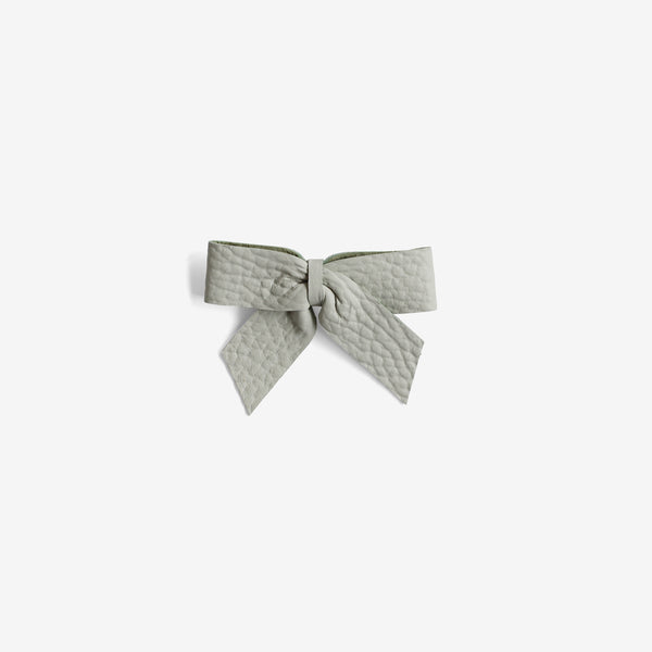 Anne Leather Bow Clip - Breeze