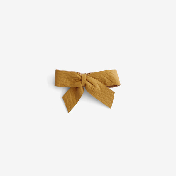 Anne Leather Bow Clip - Honey
