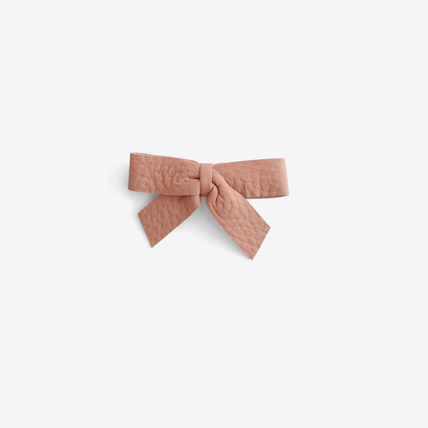 Anne Leather Bow Clip - Calamine