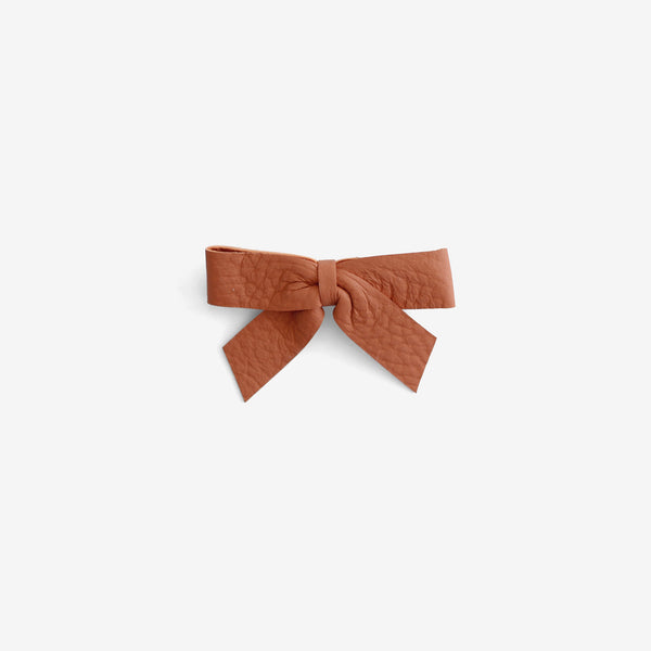 Anne Leather Bow Clip - Ember