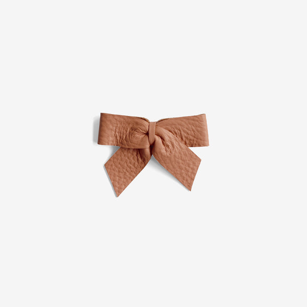 Anne Leather Bow Clip - Glazed