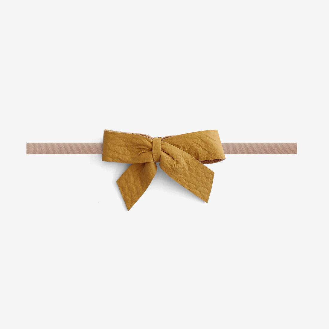 Anne Leather Bow Headband - Honey