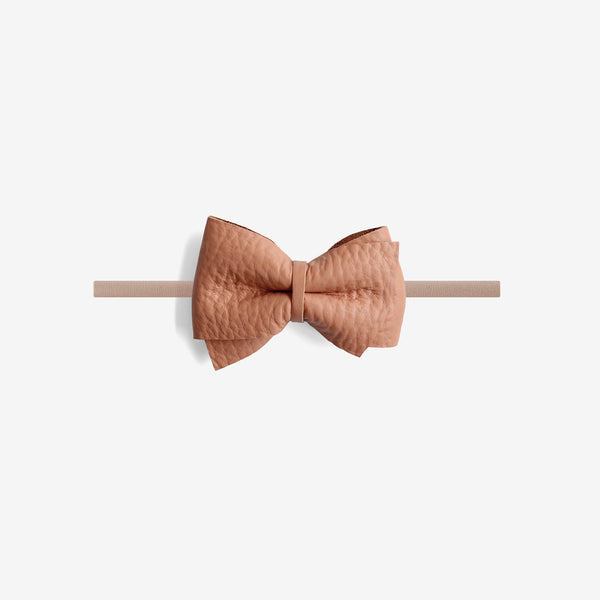 Blaire Petite Leather Bow Headband - Glazed