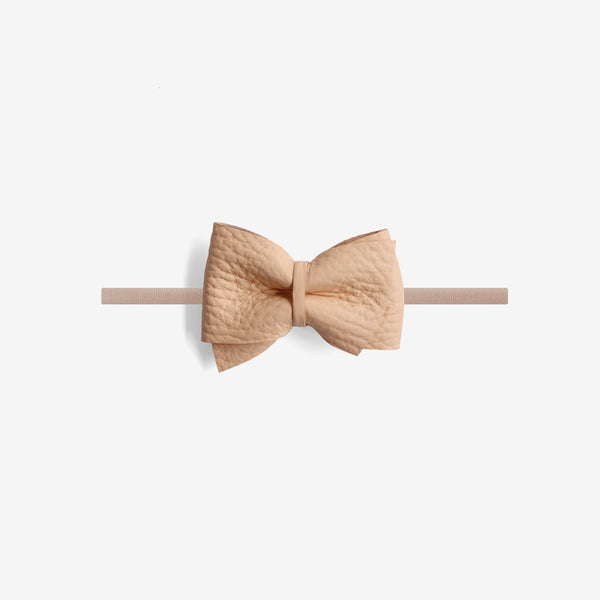 Blaire Petite Leather Bow Headband - Glow