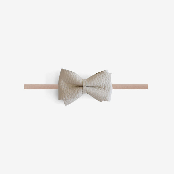 Blaire Petite Leather Bow Headband - Chiffon