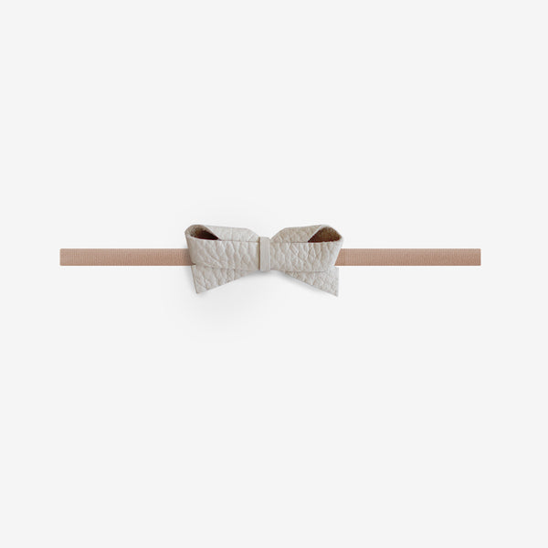 Sophie Leather Bow Headband - Chiffon
