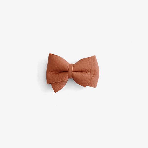 Blaire Petite Leather Bow Clip - Ember