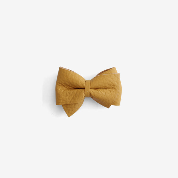 Blaire Petite Leather Bow Clip - Honey