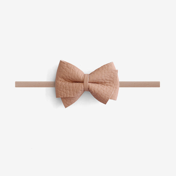 Blaire Petite Leather Bow Headband - Calamine