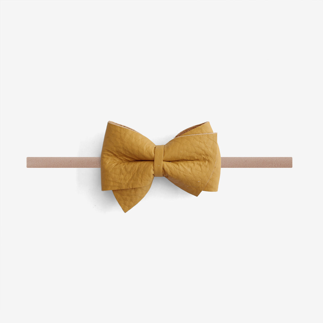 Blaire Petite Leather Bow Headband - Honey