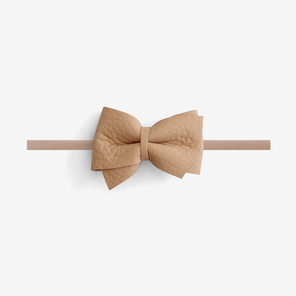 Blaire Petite Leather Bow Headband - Matchstick