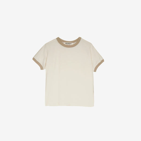 Organic Jersey S/S Vintage Ringer Tee - Sand