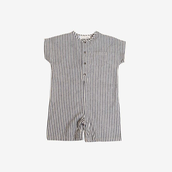 Just Chillin' Romper - Organic Canvas Stripe