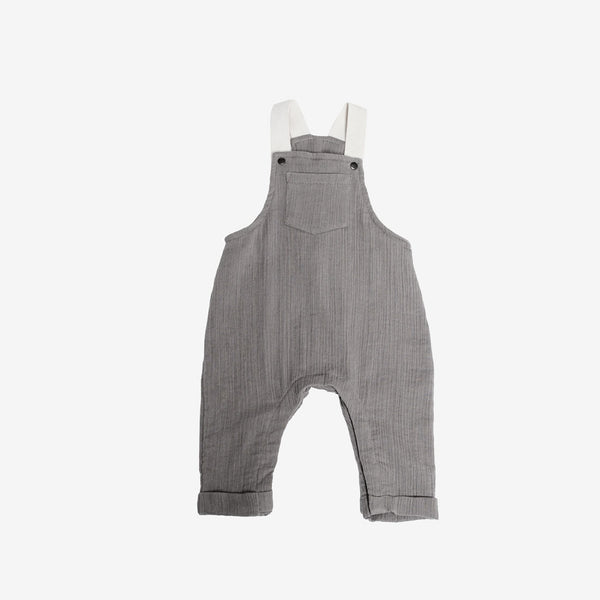 Organic Woven Overalls - Taupe Double Gauze